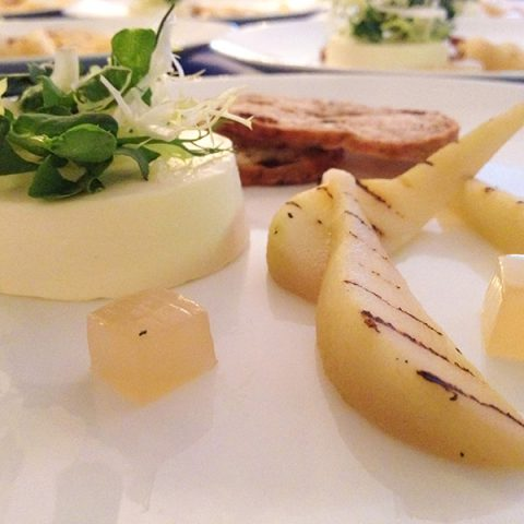 Brie Panna Cotta, Pear and Sourdough