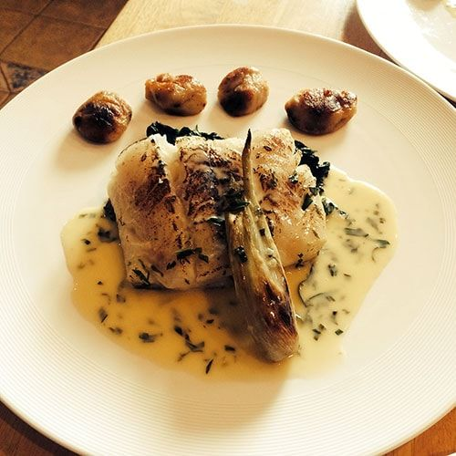 Seared Cod, Braised Fennel, Black Garlic Gnocchi, Tarragon Burre Blanc