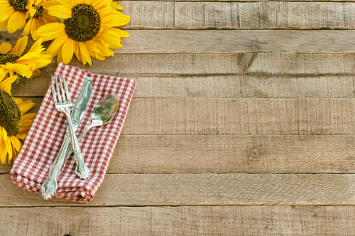 picnic sheet and sunflowers