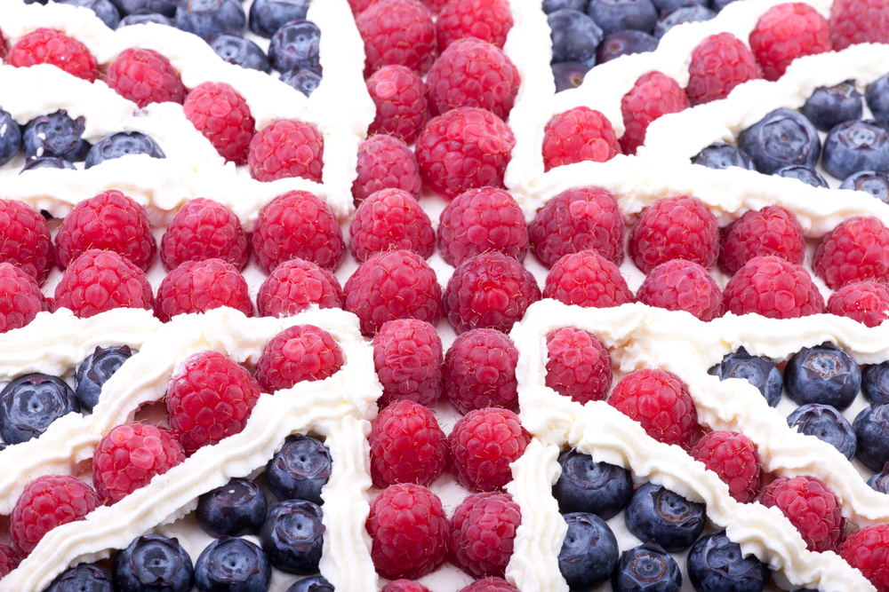 union jack made from fruit