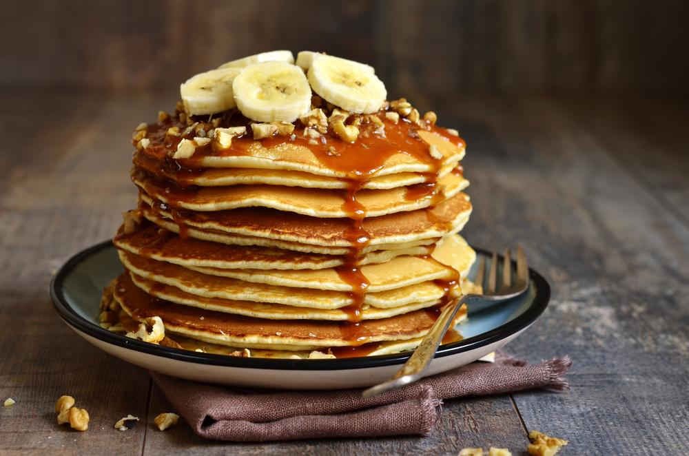 bananas and syrup on pancakes